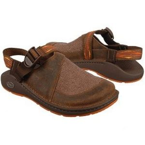 Chaco Toecoop sandals/clogs in suede and canvas